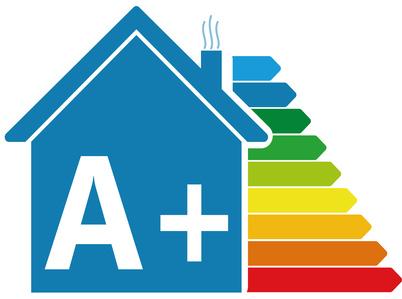 Diagrama con la calificación energética de una casa.