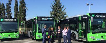 Presentación de las nuevas incorporaciones de la flota de autobuses de Cáceres.