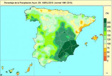 Las precipitaciones en abril han batido marcas en los registros históricos.