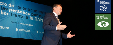 El vicepresidente de Grupo Suez, Ángel Simón, presentó la herramienta para afrontar episodios hídricos extremos.