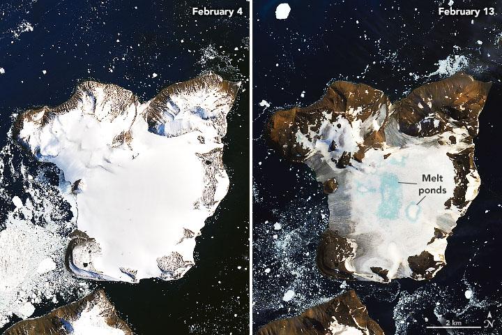 Comparación de la isla Águila entre el 4 y el 13 de febrero. Foto: NASA