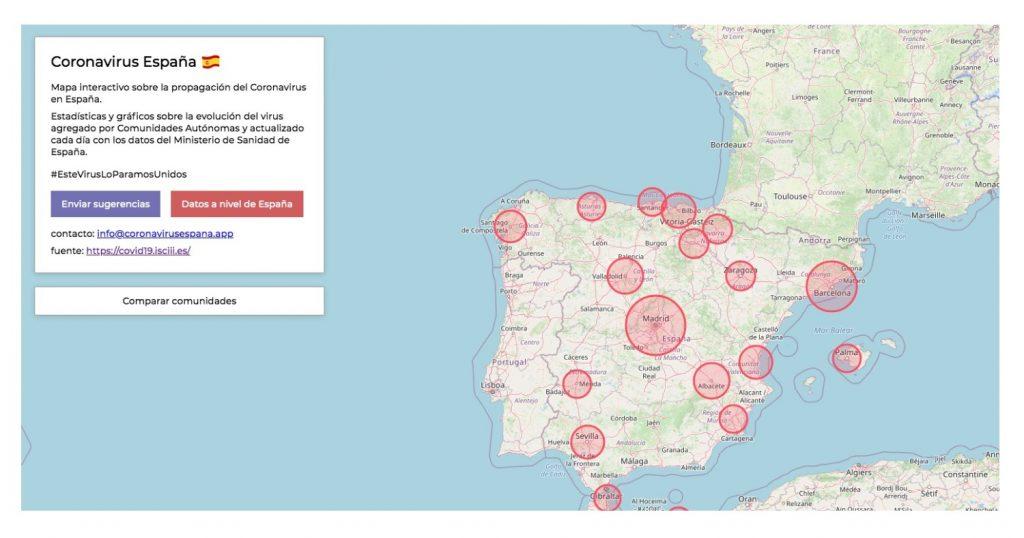 Mapa Seguimiento de la propagación por autonomías. Fuente Parque Científico UMH