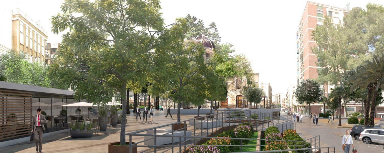 El arquitecto José María Tomás Llavador rescata la traza de Goerlich para crear las diferentes alturas de la plaça de l'Ermita de Picassent.