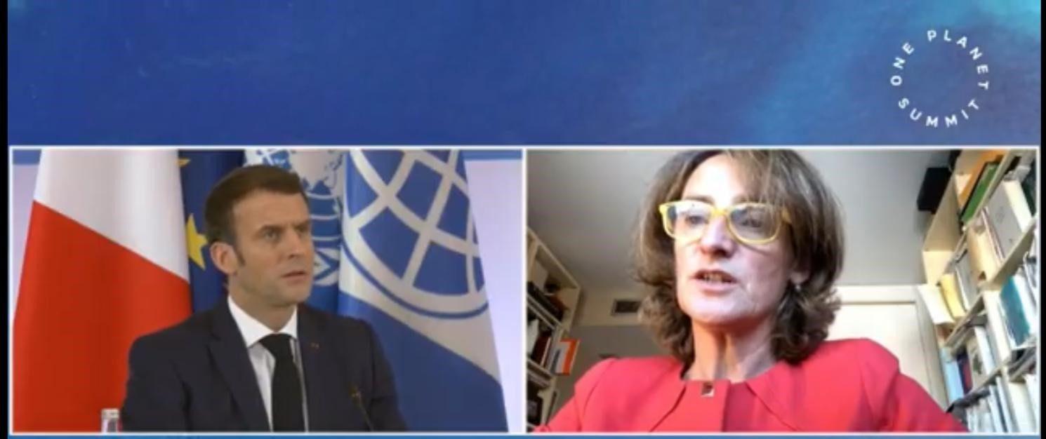 Emmanuel Macron y Teresa Ribera, en la cumbre One Planet de París.