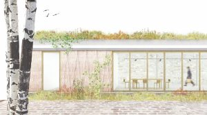 La fachada del nuevo edificio se integra en el jardín con el uso de madera y vidrio