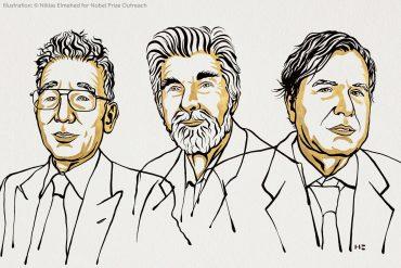 Syukuro Manabe, Klaus Hasselmann y Giorgio Parisi, los científicos reconocidos por el Nobel en física. Ill. Niklas Elmehed © Nobel Prize Outreach